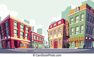 vektor, karikatura, ilustrace, o, ta, dějinný, městský,...