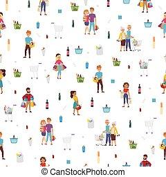 vektor, karikatura, nákupčí, illustration., mall, zákazník, nakupování, osoby, dát, národ, řemeslo, model, spousta, osamocený, icons., šťastný, seamless, móda, byt, strava