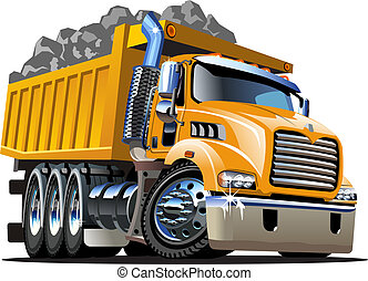 vektor, karikatura, sklápěcí nákladní auto