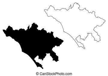 vektor, karta, huvudstad, roma, republik, skiss, (italian, italy), rom, illustration, stad, klottra, metropolitansk
