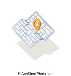 vektor, karta, ikon, med, stift, pekare, karta, ikon, stift, väg