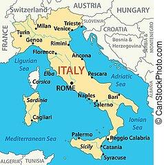 vektor, karta, -, italien, illustration