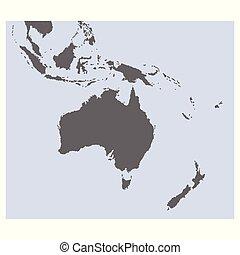vektor, karta, oceanien, australien, politisk