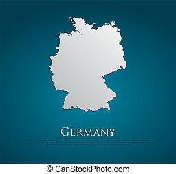 vektor, karta, papper, tyskland, kort