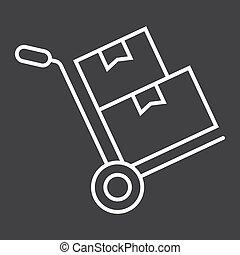 vektor, karton, 10., lineære, mønster, fødsel, tegn, eps, bokse, baggrund, sort, dukke, logistic, ikon, lastbil, beklæde, hånd, grafik