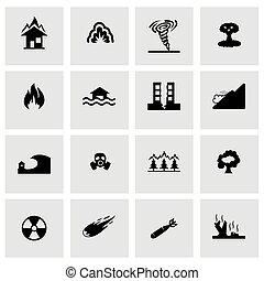 vektor, katastrophe, ikone, satz