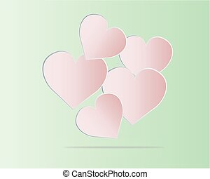 vektor, -, kedves, nap, szív, képben látható, zöld háttér