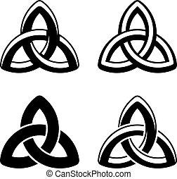 vektor, kelta, csomó, fekete, fehér, jelkép