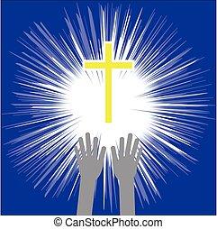 vektor, kereszt, religion., bizalom, keresztény, hands., ábra