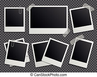 vektor, keret, család, polaroid, album, fénykép, retro, állhatatos