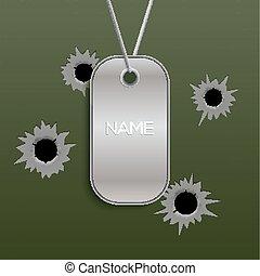 vektor, kette, armee, name., löcher, ausweis, metall,...