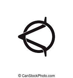 vektor, kiütés, összekapcsolt, nyíl, levél, jel, elvont