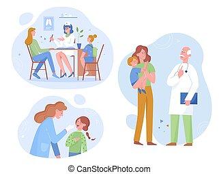 vektor, kicsi gyermekek, türelmes, lakás, consults, klinika, kivizsgálás, orvos látogat, gyakorló orvos, illustration., törődik, gyermekorvos, boldog, fiatal, healthcare, általános, bánásmód, anya, orvosi biztosítás