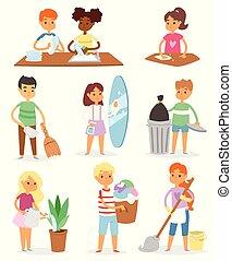 vektor, kinder, charaktere, mamas, auf, abbildung, portion, ihr, hausarbeit, satz, putzen, sauber, bunte, karikatur, zimmer