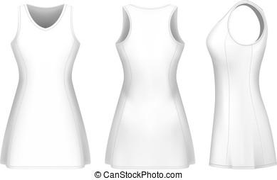 vektor, klänning, netball