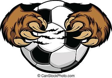 vektor, kløer, soccer bold, bjørn