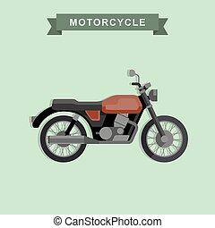 vektor, klasszikus, bike.