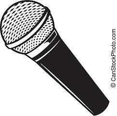 vektor, klasszikus, mikrofon