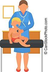vektor, klinika, orvos, healthcare., vizsga, csecsemő, illustration., megtesz, csecsemő, orvosi, gyermek, kórház, gyermekorvos