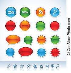 vektor, klistermärken, färgrik