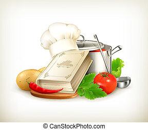 vektor, kochen, abbildung