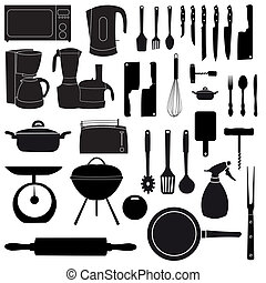 vektor, kochen, werkzeuge, abbildung, kueche