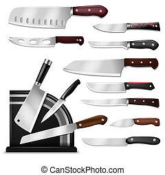 vektor, kock, sätta, kött, isolerat, slaktare, drawknife,...