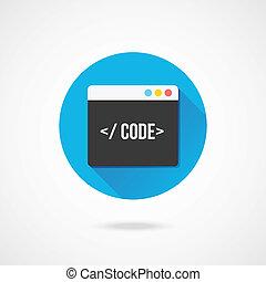 vektor, kode, redaktør, ikon