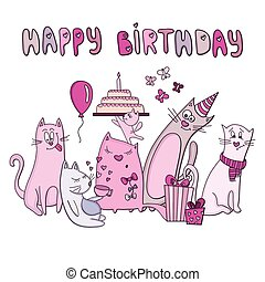 vektor, komický, narozeniny karta, kočka