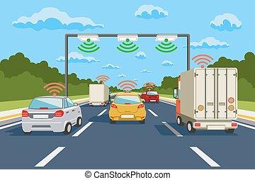vektor, kommunikáció, rendszer, autóút, infographics