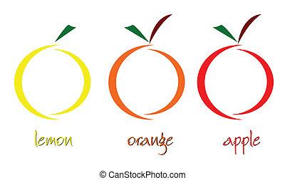 vektor, konst, illustration, frukt