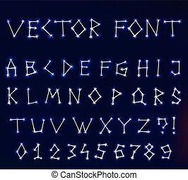 vektor, konstellation, schriftart, in, raum