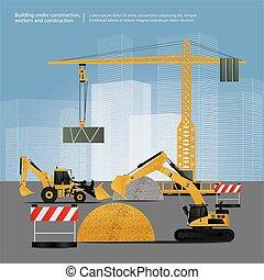 vektor, konstruktion køretøjer, site, illustration