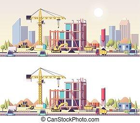 vektor, konstruktion, lavtliggende, poly, site