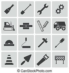 vektor, konstruktion, sort, iconerne