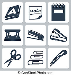 vektor, kontor, ream, iconerne, clips, hæftemaskine, skrift ...