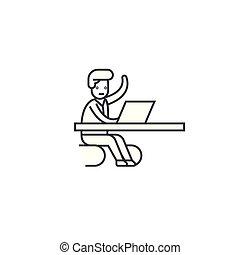 vektor, kontor, slaglängder, editable, illustration, underteckna, ögonblick, bakgrund, kommande, ikon, fodra