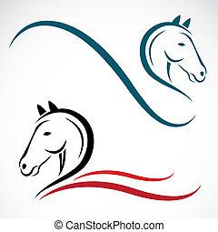 vektor, kopf, pferd