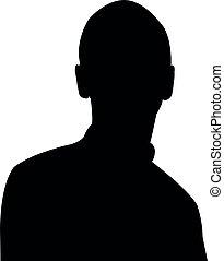vektor, kopf, silhouette, mann, junger