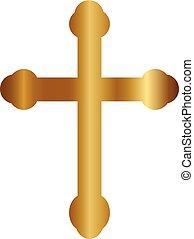 vektor, kors, guld