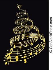 vektor, kort, guld, musik, julgran