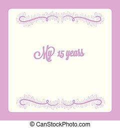 vektor, kort, inbjudan, 15, dekoration, virvla runt, blommig, årsdag, år