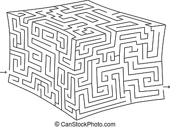 vektor, kostka, poplést, (labyrinth)