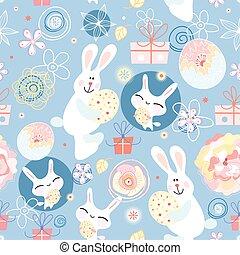 vektor, króliki, jaja, dzieciństwo
