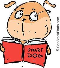 vektor, krank, -, hund, buch, lesende , klug
