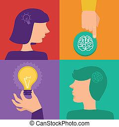 vektor, kreativitet, begrepp, brainstorming