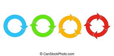 vektor, kreis, satz, illustration., arrows.