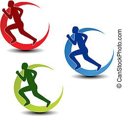 vektor, kreisförmig, symbol, von, fitness, -, läufer,...