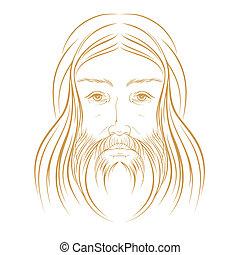 vektor, krisztus, ábra, jézus