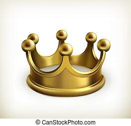 vektor, krona, guld